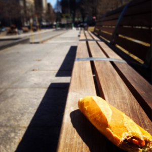 Banh mi on park bench
