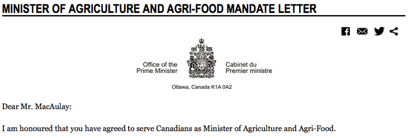 Screenshot of excerpt of Minister of Agriculture and Agri-Food Mandate Letter - Source: http://pm.gc.ca/eng/minister-agriculture-and-agri-food-mandate-letter.